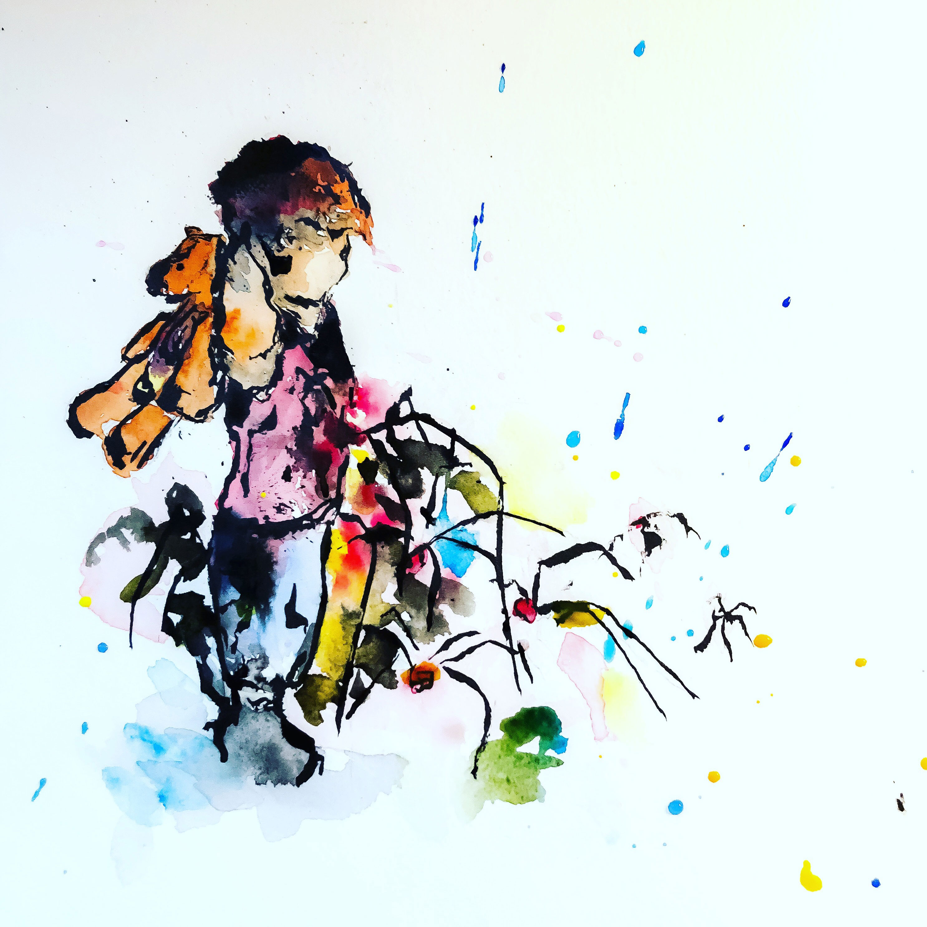 Watercolor Boy with Spiders
