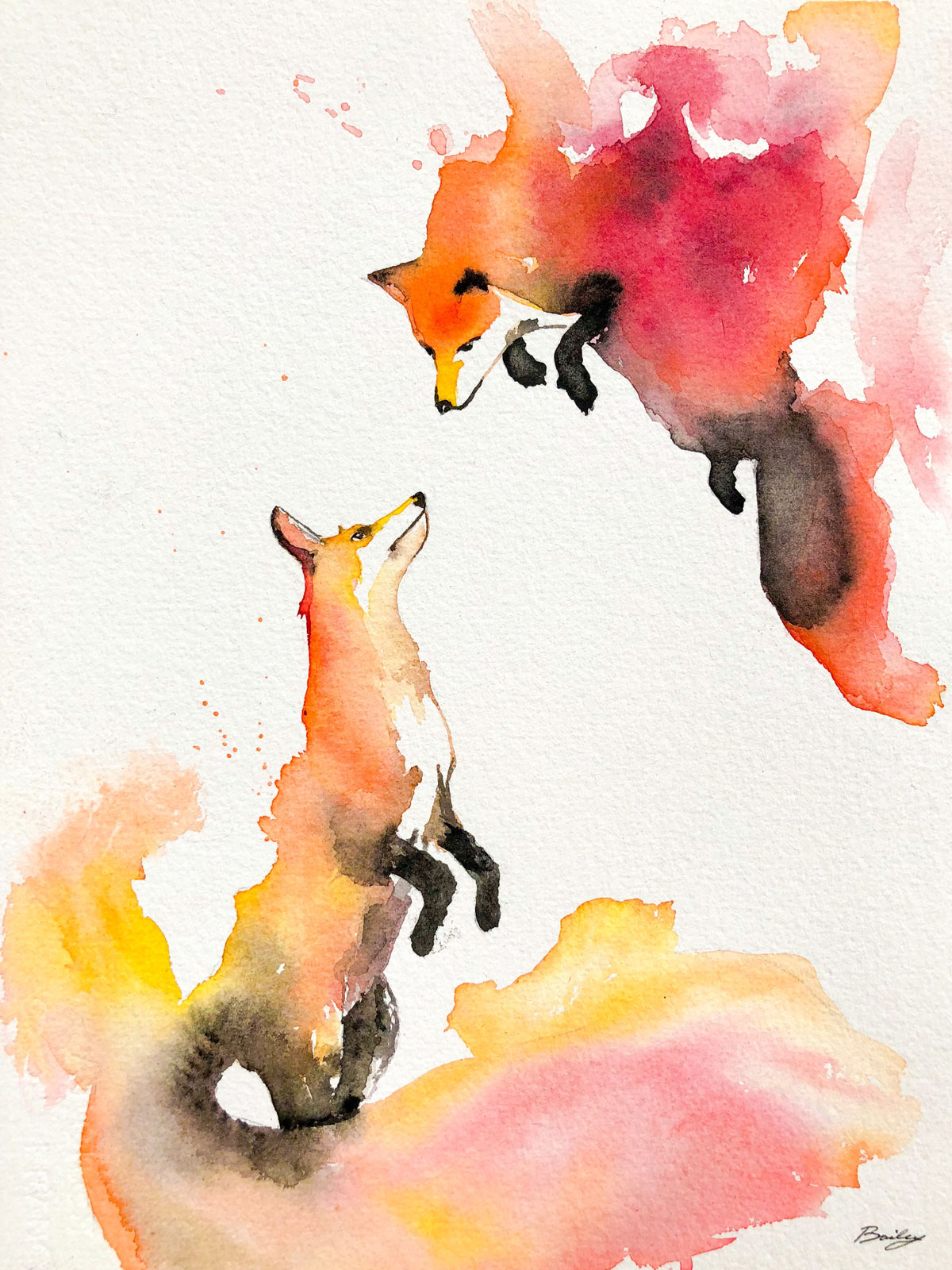 Twin Flames Watercolor Painting